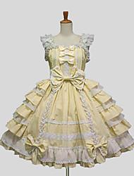 Une Pièce/Robes Doux Princesse Cosplay Vêtrements Lolita Pourpre clair Blanc Noir Jaune Bleu Ciel Couleur Pleine Sans manche Genou Robe