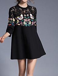 Ample Robe Femme Décontracté / Quotidien simple,Couleur Pleine Col Arrondi Mini Polyester Automne Taille Basse Micro-élastique Moyen