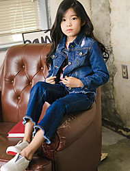 Girl Casual/Daily Solid Jeans-Denim Spring Fall