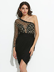 Women's  Golden Lace Black Tulle Party Dress