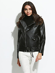 Women's Casual/Daily Simple Spring / Fall Leather Jackets,Solid Stand Long Sleeve Black PU Medium