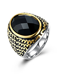 Ring Stainless Steel Titanium Steel Glass Fashion Black Jewelry Daily Casual 1pc