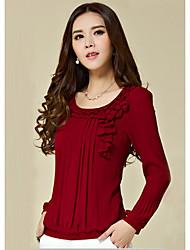 Long-sleeved chiffon shirt Hitz Korean version of the big yards temperament was thin flounced chiffon shirt