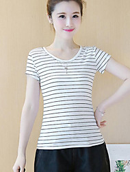 Damen Gestreift Einfach Lässig/Alltäglich T-shirt,Rundhalsausschnitt Sommer Kurzarm Weiß Polyester Undurchsichtig
