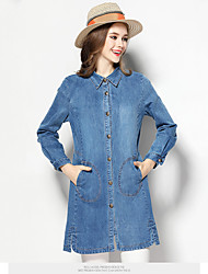 Women's Casual/Daily Simple Denim Dress,Solid Shirt Collar Above Knee Long Sleeve Blue Cotton Spring Mid Rise Micro-elastic Medium