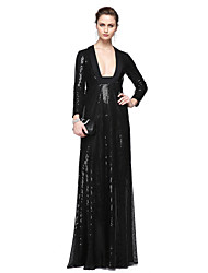 TS Couture Formal Evening Dress - Sparkle & Shine Celebrity Style Sheath / Column Square Floor-length Sequined with Sequins Pleats