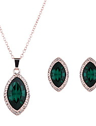 Schmuckset Smaragd Krystall Aleación Grün 1 Paar Ohrringe Halsketten Für Hochzeit Party Alltag Normal 1 Set Hochzeitsgeschenke