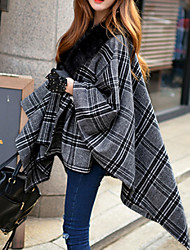 Manteau Femme,Rayé Sans Manches Gris Laine Acrylique Polyester Spandex Epais Hiver