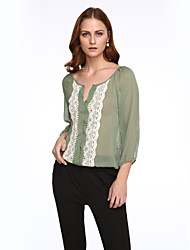 Women's Color Block Green Blouse,V Neck ¾ Sleeve
