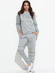 Women's Going out / Casual/Daily Street chic Fall / Winter Set Pant,Solid Round Neck Long Sleeve Rayon Medium