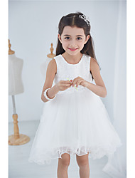 Princess Knee-length Flower Girl Dress - Cotton Georgette Jewel with Lace