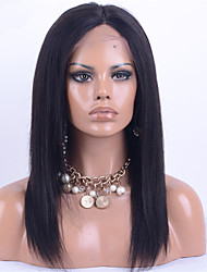 Top Grade Human Virgin Hair Full Lace Wig Yaki Straight Natural Black Color Hair 100% Malaysian Virgin Hair Lace Wig Kinky Straight For Fashion Woman