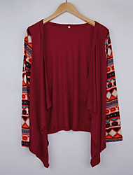 Women's Print Red Wrap , Asymmetrical Long Sleeve