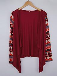 Envelopper Aux femmes,Imprimé Décontracté / Quotidien Sexy Printemps Manches Longues Asymétrique Rouge Coton Moyen