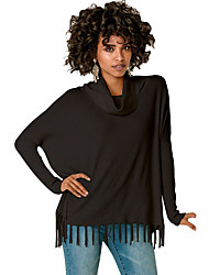 Women's Turtleneck Fringe Hemline Tunic Sweater