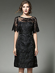 Women's Party/Cocktail Vintage A Line Lace Dress,Solid Round Neck Knee-length Short Sleeve Rayon Black Spring Mid Rise Micro-elastic