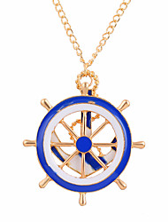 Necklace Non Stone Pendant Necklaces Jewelry Daily Anchor Personalized Alloy Women 1pc Gift Blue