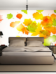 JAMMORY Art DecoWallpaper For Home Wall Covering Canvas Adhesive required Mural Simple Maple Leaf Background XL XXL XXXL
