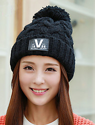 Women 'S Autumn And Winter Fashion Knit Cap Side Of The Standard Large Hair Ball Cap Wool Head Cap