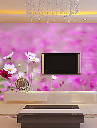 JAMMORY Art DecoWallpaper For Home Wall Covering Canvas Adhesive required Mural Purple Flowers of The Sea XL XXL XXXL