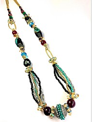Women's Strands Necklaces Multi-stone Crystal Rhinestone Agate Rhinestone Glass Alloy Fashion Euramerican Green Jewelry Party Daily Casual