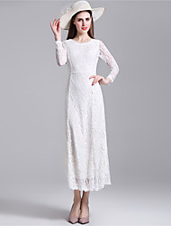 Women's Sexy Lace Halter Hollowing Round Neck Long Sleeve Party Cocktail Long Dress
