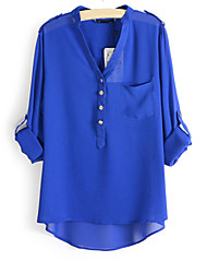 Women's  V Neck Long Sleeve Blouse