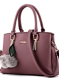 Women Bags Winter All Seasons PU Tote with Rivet Fur for Formal Outdoor Office & Career Fuchsia Blue Blushing Pink Wine Dark Pink