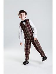 Serge Ring Bearer Suit - Four-piece Suit Pieces Includes  Shirt Vest Pants Bow Tie Suspenders