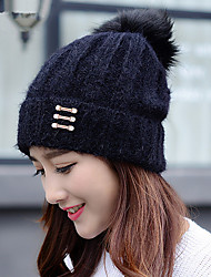 Winter Fashion New Three - Ball Hair Ball Velvet Billows Single Cap Winter Cap Knitted Hat