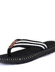 Men's Slippers & Flip-Flops Spring Summer Fall Comfort Linen Casual Flat Heel Tassel Black Red Gray Khaki