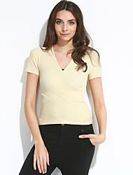 Damen Standard Pullover-Ausgehen Street Schick Solide Blau Rosa Rot Weiß Beige Schwarz Grau Lila V-Ausschnitt Kurzarm Baumwolle Sommer