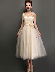 A-Line High Neck Jewel Neck V-neck Straps Tea Length Tulle Bridesmaid Dress with Appliques Lace