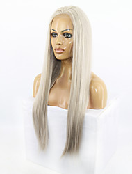 Long Natural Straight Grey Color Lace Front Wig Synthetic Hair Wigs for Fashion Women
