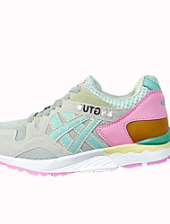 Women's Athletic Shoes Fall Winter Comfort PU Casual Low Heel Lace-up White Blue Light Pink Walking