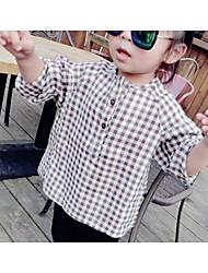 Girl Casual/Daily Check Shirt,Cotton Spring Long Sleeve Regular