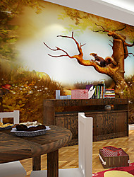 JAMMORY Art DecoWallpaper For Home Wall Covering Canvas Adhesive required Mural Cartoon Big Tree Squirrel XL XXL XXXL