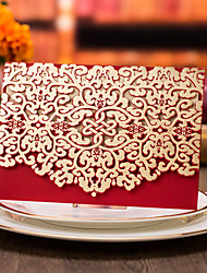 50pcs Red Laser Cut Luxury Flora Wedding Invitations Card with Envelopes Seals Custom Elegant Lace Favor Wedding Event & Party Supplies