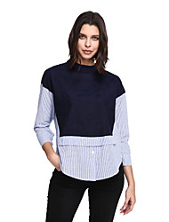 Women's Fine Stripe Plus Size Casual/Daily Simple Shirt,Solid Striped Turtleneck Long Sleeve Blue Cotton Polyester