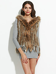 Women's Party/Cocktail Fur Coat,Solid Sleeveless Winter Rabbit Fur Raccoon Fur