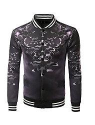 Men's Going out Casual/Daily Sports Active Jackets,Print Stand Long Sleeve Spring Fall Black Polyester Medium