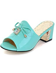 Women's Slippers & Flip-Flops Summer Comfort Patent Leather Party & Evening Dress Casual Chunky Heel Crystal Bowknot Blue White Walking