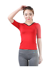Running Tops Women's Breathable Quick Dry Soft LYCRA® Terylene Yoga Pilates Exercise & Fitness Leisure Sports Running Sports Sports Wear