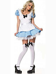 Cosplay Costumes Party Costume Maid Costumes Career Costumes Movie Cosplay Blue Solid Dress Halloween Carnival Female Polyester
