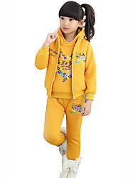 Girls Fashion Han Flower Heart Love Thicken Fleece Sports And  Leisure Three-Piece Outfit