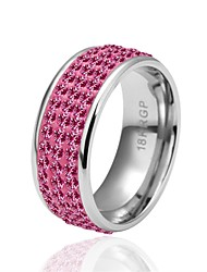 Ring AAA Cubic Zirconia Daily Casual Jewelry Zircon Silver Plated Women Ring 1pc,8 Pink