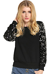 Women's Casual/Daily Street chic Spring Fall Blouse,Solid Round Neck Long Sleeve Black Brown Cotton Polyester Medium
