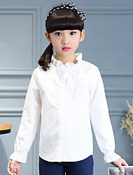 Girl Casual/Daily Solid Shirt,Cotton Polyester Spring Fall Long Sleeve Regular