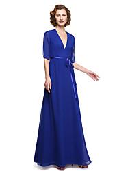2017 Lanting bride® uma linha mãe do vestido de noiva - Andar de comprimento elegante chiffon meia manga com faixa fita /