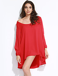 Women's Casual/Daily Loose Dress,Solid V Neck Above Knee Long Sleeve Cashmere Summer Low Rise Micro-elastic Thin